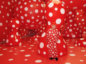 "Kusama with Dots Obsession, Installation 2012 View: Kusama's solo exhibition ""YAYOI KUSAMA ETERNITY OF ETERNAL ETERNITY"" at Matsumoto City Museum of Art, Nagano, Japan.© Yayoi Kusama, courtesy Ota Fine Arts, Tokyo/Singapore, Victoria Miro Gallery, London, David Zwirner,"